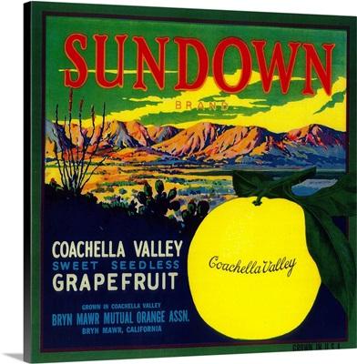 Sundown Grapefruit Label, Bryn Mawr, CA