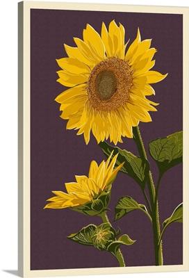 Sunflowers - Letterpress: Retro Art Poster