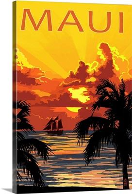 Sunset and Ship - Maui, Hawaii: Retro Travel Poster