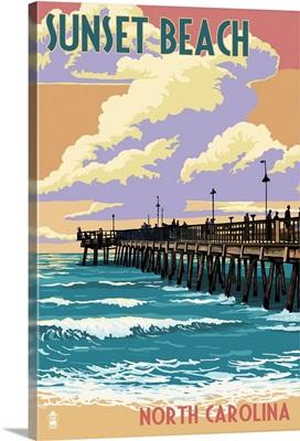 Sunset Beach - Calabash, North Carolina - Pier Scene: Retro Travel Poster