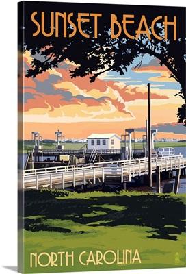 Sunset Beach - Calabash, North Carolina - Swinging Bridge: Retro Travel Poster