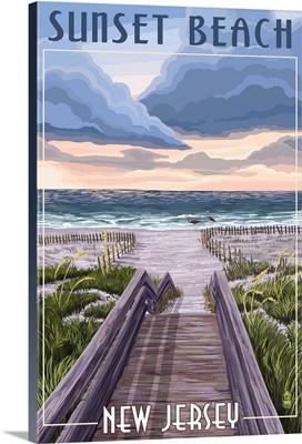 Sunset Beach, New Jersey, Beach Boardwalk Scene