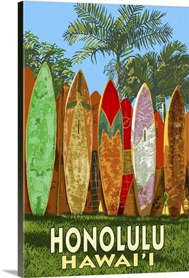 Surf Board Fence - Honolulu, Hawaii: Retro Travel Poster