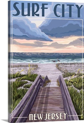 Surf City, New Jersey - Beach Boardwalk Scene: Retro Travel Poster
