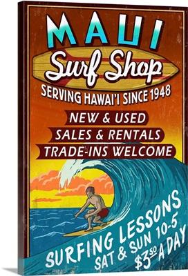 Surf Shop Vintage Sign - Maui, Hawaii: Retro Travel Poster