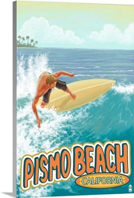 Surfer Big Wave - Pismo Beach, California: Retro Travel Poster