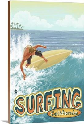 Surfing California: Retro Travel Poster