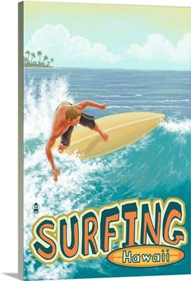 Surfing Hawaii: Retro Travel Poster