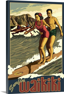 Surfing - Waikiki, HI: Retro Travel Poster