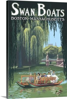 Swan Boats - Boston, MA: Retro Travel Poster