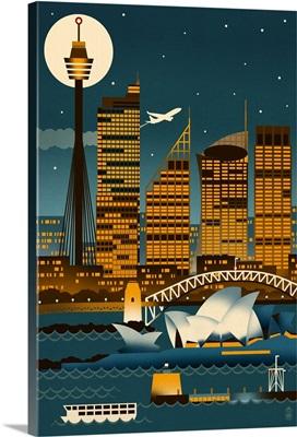 Sydney, Australia, Retro Skyline