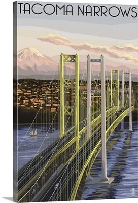 Tacoma, Washington, Narrows Bridge and Mount Rainier