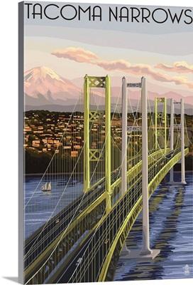 Tacoma, Washington - Narrows Bridge and Rainier: Retro Travel Poster