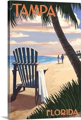 Tampa, Florida - Adirondack Chair on the Beach: Retro Travel Poster