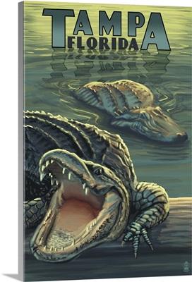 Tampa, Florida - Alligators: Retro Travel Poster