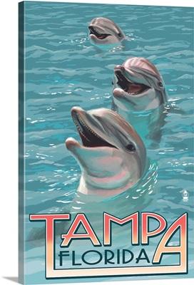 Tampa, Florida - Dolphins: Retro Travel Poster