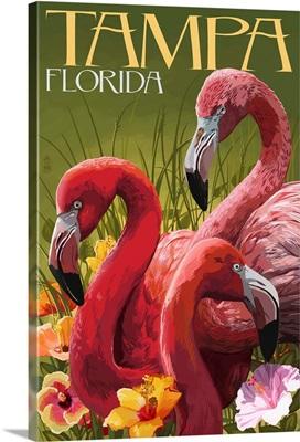 Tampa, Florida - Flamingos: Retro Travel Poster