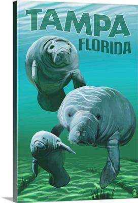 Tampa, Florida - Manatees: Retro Travel Poster