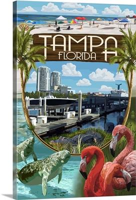 Tampa, Florida - Montage: Retro Travel Poster