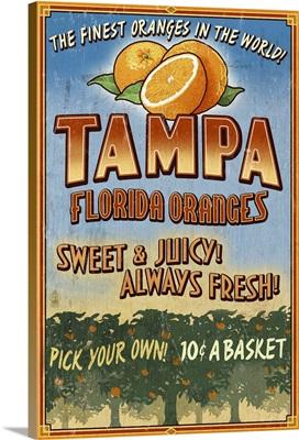 Tampa, Florida - Orange Grove Vintage Sign: Retro Travel Poster