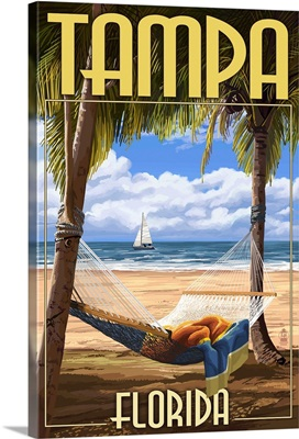 Tampa, Florida - Palms and Hammock: Retro Travel Poster