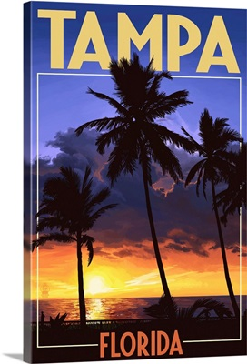 Tampa, Florida - Palms and Sunset: Retro Travel Poster
