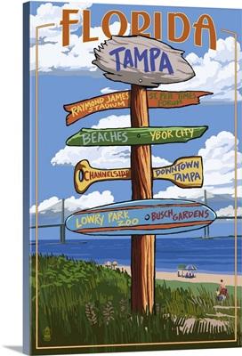 Tampa, Florida - Sign Destinations: Retro Travel Poster