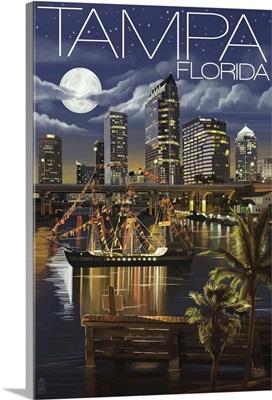 Tampa, Florida - Skyline at Night: Retro Travel Poster