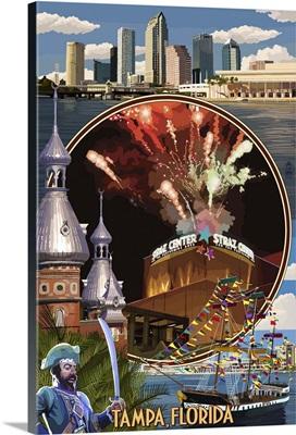 Tampa, Florida - Straz Center Montage: Retro Travel Poster