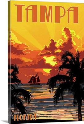 Tampa, Florida - Sunset and Ship: Retro Travel Poster