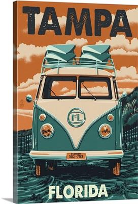 Tampa, Florida - VW Van Letterpress: Retro Travel Poster