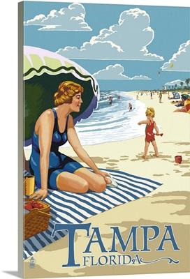 Tampa, Florida - Woman on the Beach: Retro Travel Poster