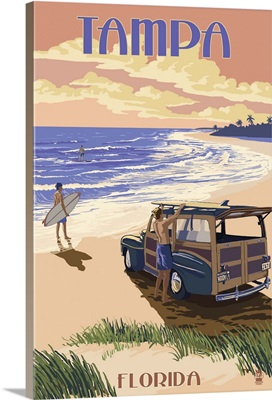 Tampa, Florida - Woody On The Beach: Retro Travel Poster
