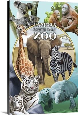 Tampa's Lowry Park Zoo, Florida - Wildlife Montage: Retro Travel Poster