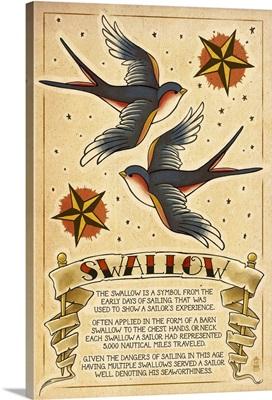 Tattoo Flash Sheet - Swallow: Retro Poster Art