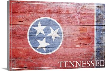 Tennessee State Flag on Wood