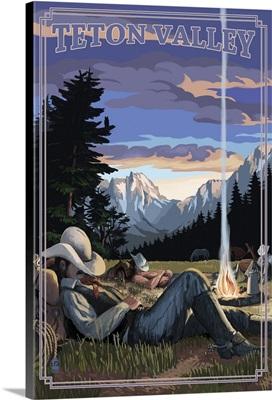 Teton Valley, Idaho - Cowboy Camping Night Scene: Retro Travel Poster