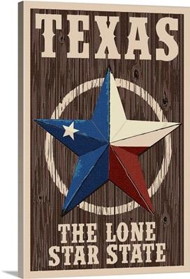 Texas - Barn Star Letterpress: Retro Travel Poster