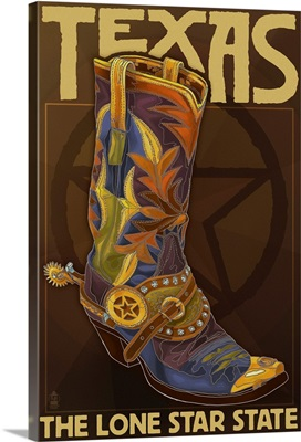 Texas - Boot and Star: Retro Travel Poster