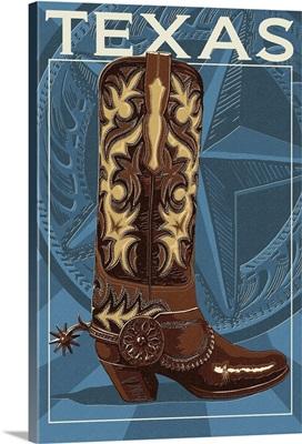 Texas - Boot Letterpress: Retro Travel Poster