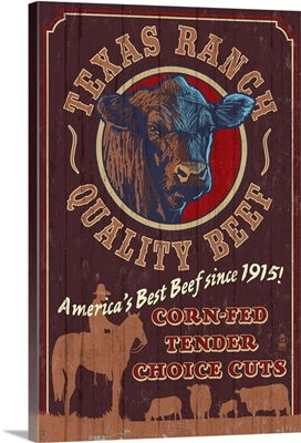 Texas - Cattle Ranch Vintage Sign: Retro Travel Poster