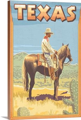 Texas - Cowboy on Horseback: Retro Travel Poster