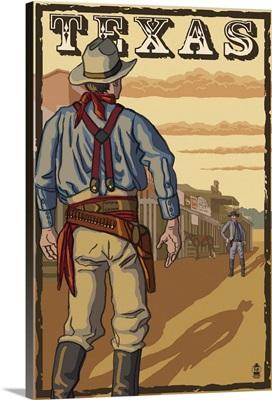 Texas Cowboy Standoff: Retro Travel Poster