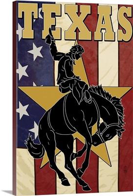 Texas - Cowboy with Bucking Bronco: Retro Travel Poster