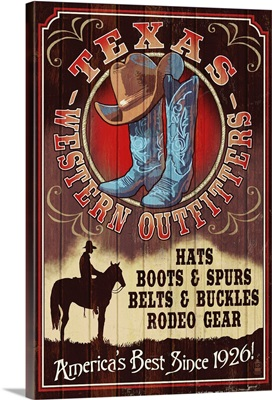 Texas - Hat and Boot Shop Vintage Sign: Retro Travel Poster