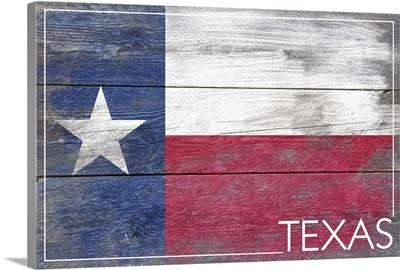 Texas State Flag on Wood