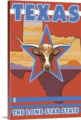 Texas State - Longhorn Bull: Retro Travel Poster