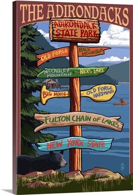 The Adirondacks -  Adirondack State Park, New York State: Retro Travel Poster