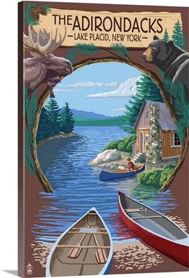 The Adirondacks - Lake Placid, New York State - Montage: Retro Travel Poster