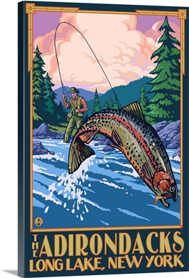 The Adirondacks - Long Lake, New York State - Fly Fishing: Retro Travel Poster